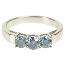 14K 0.86 Ctw Blue Diamond Three Stone Engagement Ring Size 7.25 White Gold [QRQC]