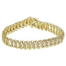 "10K 5.00 Ctw Diamond Encrusted Ornate Tennis Bracelet 7.5"" Yellow Gold [QRXR]"