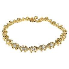 "14K 0.75 Ctw Diamond Ball Pattern Link Tennis Bracelet 7"" Yellow Gold [QRQC]"