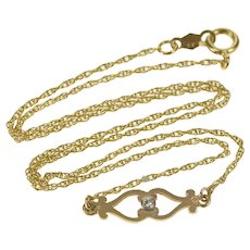 "14K Scroll Cubic Zirconia Rolling Chain Choker Necklace 13.75"" Yellow Gold [QRQC]"