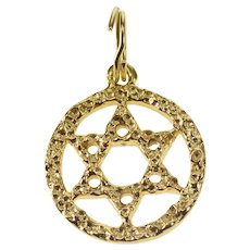 14K Textured Pattern Star of David Jewish Faith Charm/Pendant Yellow Gold [QRQC]
