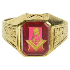 14K Masonic Syn. Ruby Compass Square 1940's Ring Size 6 Yellow Gold [QRQC]