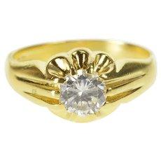 18K Retro Gypsy Set Travel Engagement CZ Ring Size 6.75 Yellow Gold [QRQC]