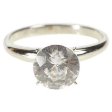 10K Round CZ Solitaire Travel Engagement Ring Size 6 White Gold [QRQC]