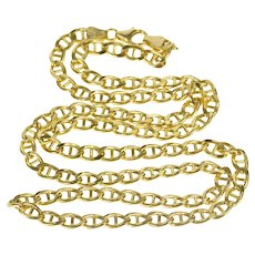 """14K 4.8mm Pressed Anchor Link Fashion Chain Necklace 22"""" Yellow Gold  [QRXF]"""