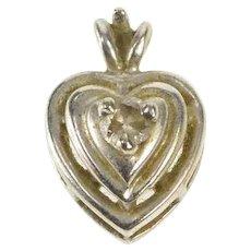 14K Retro Diamond Heart Love Symbol Charm/Pendant White Gold [QRQC]