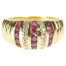 14K Ruby Diamond Channel Rounded Fashion Band Ring Size 6.5 Yellow Gold [QRXF]