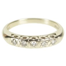 14K Retro Five Stone Classic Diamond Wedding Band Ring Size 5.75 White Gold [QRQC]