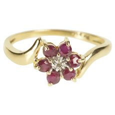 14K Ruby Diamond Floral Flower Bypass Promise Ring Size 7.25 Yellow Gold [QRQC]