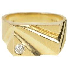14K Squared Geometric Diamond Men's Fashion Ring Size 10.5 Yellow Gold [QRXR]
