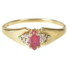 10K Marquise Ruby Inset Classic Fashion Ring Size 6.75 Yellow Gold [QRQC]
