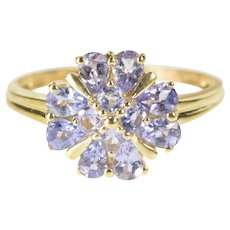 14K Tanzanite Clover Shamrock Cocktail Cluster Ring Size 8.75 Yellow Gold [QRXT]