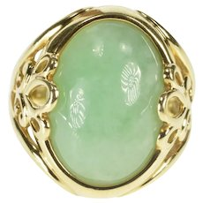 14K Oval Jade Cabochon Paisley Design Accent Ring Size 6.25 Yellow Gold [QRQX]