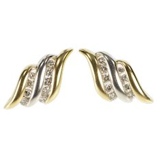 14K Two Tone Diamond Wavy Channel Fashion Earrings Yellow Gold  [QRXT]