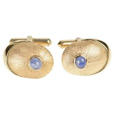14K Retro Sapphire Ornate Oval Burst Design Cuff Links Yellow Gold [QRQX]