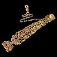 Ornate Scroll Motif Retro Three Chain Watch Fob [QRXT]