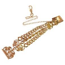 Ornate Scroll Motif Retro Three Chain Watch Fob [QRXT]