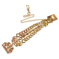 Ornate Scroll Motif Retro Three Chain Watch Fob [QRQX]