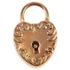 Gold Filled 1940's Ornate 3D Heart Padlock Sweetheart Charm/Pendant   [QRXT]