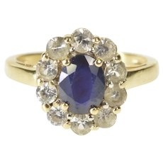 14K Blue Natural Sapphire White Sapphire Halo Ring Size 5.75 Yellow Gold [QRQX]
