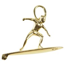 14K 3D Surfer Surf Man Charm/Pendant Yellow Gold  [QRXT]