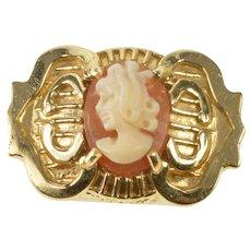 14K Carved Shell Cameo Ornate Slide Bracelet Charm/Pendant Yellow Gold  [QRXT]