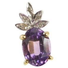 14K Oval Amethyst Diamond Floral Petal Fashion Pendant Yellow Gold [QRQX]