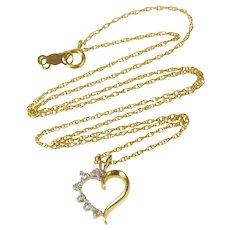 "14K Diamond Inset Heart Pendant Chain Link Necklace 16"" Yellow Gold  [QRXT]"