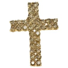 10K 3.60 Ctw Light Brown Diamond Encrusted Cross Pendant Yellow Gold [QRQX]