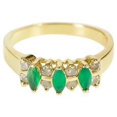 14K Marquise Emerald Diamond Inset Band Ring Size 8.25 Yellow Gold [CXXQ]