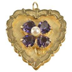 14K Retro Amethyst Heart Clover Shamrock Pearl Charm/Pendant Yellow Gold  [QRXT]