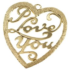 14K Retro I Love You Cut Out Heart Sweetheart Charm/Pendant Yellow Gold  [QRXK]