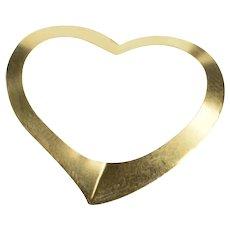 14K Curvy Simple Classic Heart Love Sweetheart Charm/Pendant Yellow Gold  [QRXK]
