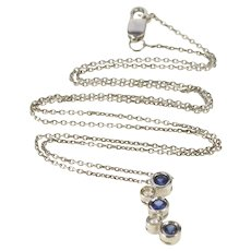 """14K Sapphire Diamond Pendant Cable Chain Necklace 16"""" White Gold  [QRXT]"""