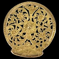 14K Ornate Floral Vine Scroll Swirl Filigree Button Yellow Gold  [QRXT]