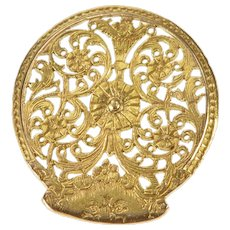 14K Ornate Floral Vine Scroll Swirl Filigree Button Yellow Gold  [QRXT]