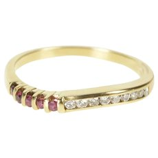 18K Wavy Ruby Diamond Curvy Wedding Band Ring Size 6.5 Yellow Gold [QRXK]