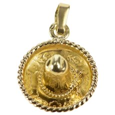 14K 3D Traditional Mexican Hat Sombrero Charm/Pendant Yellow Gold  [QRXK]