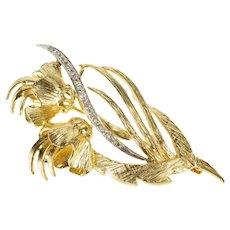 14K Retro Flower Floral Diamond Inset Leaf Fashion Pin/Brooch Yellow Gold [QRQX]