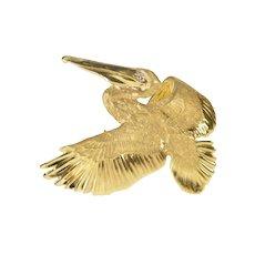 14K 3D Flying Pelican Sea Bird Diamond Inset Pendant/Pin Yellow Gold [QRQX]