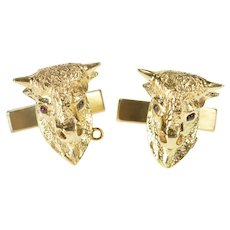 14K 3D Ornate Ox Garnet Eye Buffalo Head Cuff Links Yellow Gold [CXXQ]