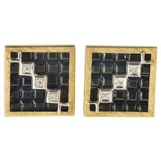 14K Lucien Piccard Squared Geometric Sapphire Diamond Cuff Links Yellow Gold [QRQX]