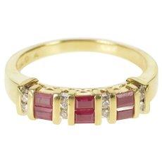 14K Baguette Ruby Diamond Wedding Band Ring Size 9 Yellow Gold [QRXK]