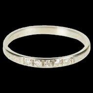 18K Art Deco Diamond Floral Pattern Wedding Band Ring Size 8.25 White Gold [QRXK]