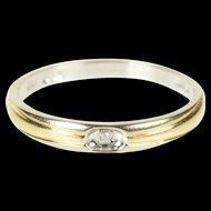 10K Two Tone Diamond Solitaire Wedding Band Ring Size 6.25 White Gold [QRXK]