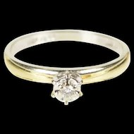 10K Two Tone Diamond Solitaire Promise Engagement Ring Size 6.25 White Gold [QRXK]