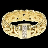 14K Diamond Channel Byzanite Chain Statement Band Ring Size 9.75 Yellow Gold [QRXK]