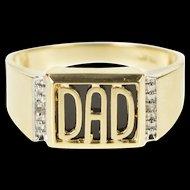 10K Dad Black Onyx Diamond Men's Father's Day Ring Size 10.75 Yellow Gold [QRXK]