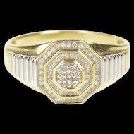 10K Two Tone Diamond Cluster Men's Statement Ring Size 10.75 Yellow Gold [QRXK]