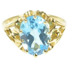 14K Oval Scalloped Gypsy Prong Cocktail Statement Ring Size 10 Yellow Gold [QRQX]